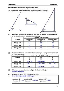 Class Activity Introduction To The Trigonometric Ratios Lite Class Activities Mathematics Worksheets Geometry Lessons