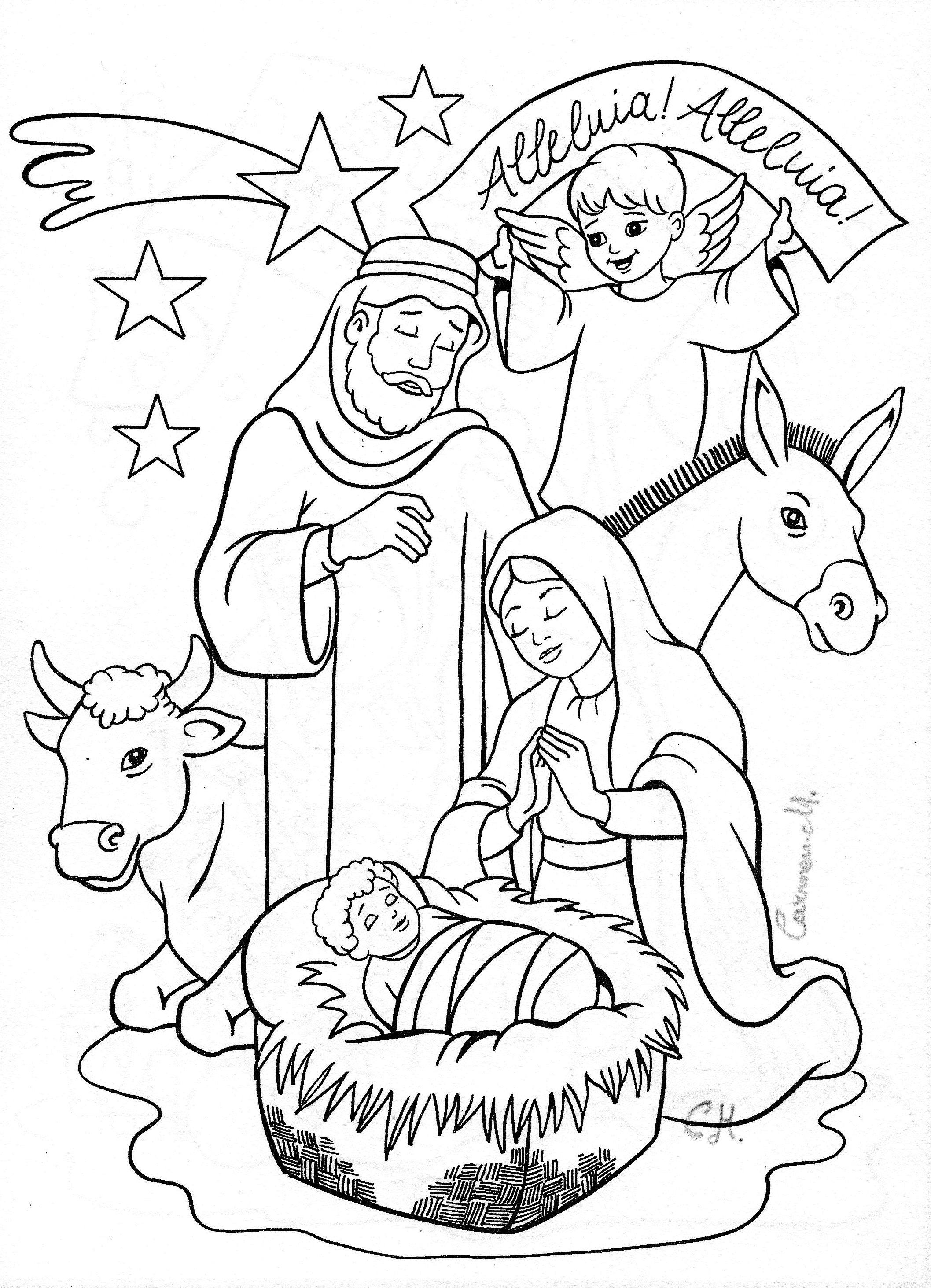 Nativity coloring page Coloring Christmas colors