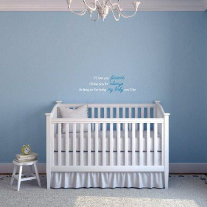 Love You Forever Nursery Wall Quote (White and Blue): Amazon.ca: Baby