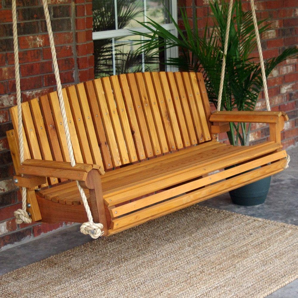 Tmp Outdoor Furniture Fan Red Cedar Porch Swing