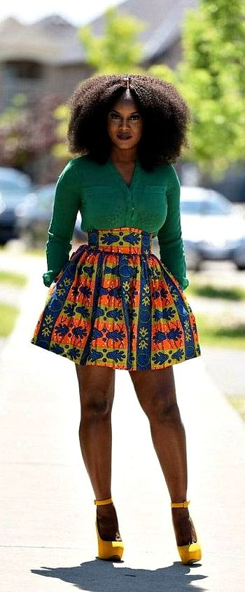 Tessy African Print Mini Skirt Ankara Dutch Wax Kente Kitenge