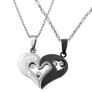 "TribalSensation® Cubic Zirconia Stainless Steel Couples Black & Silver Tone ""I love you"" Heart Pendant Necklace Set 