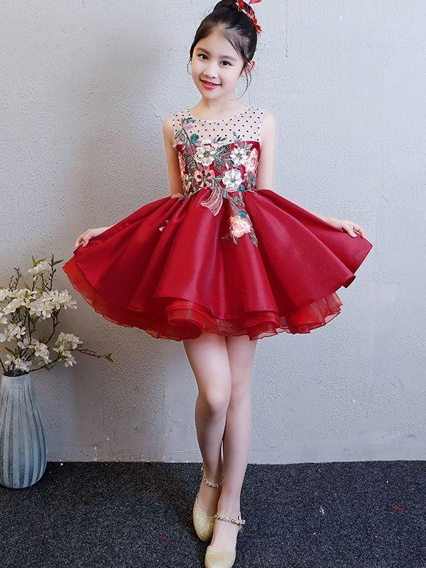 Embroidery Tulle Stitching Sleeveless Fluffy Mini Dress