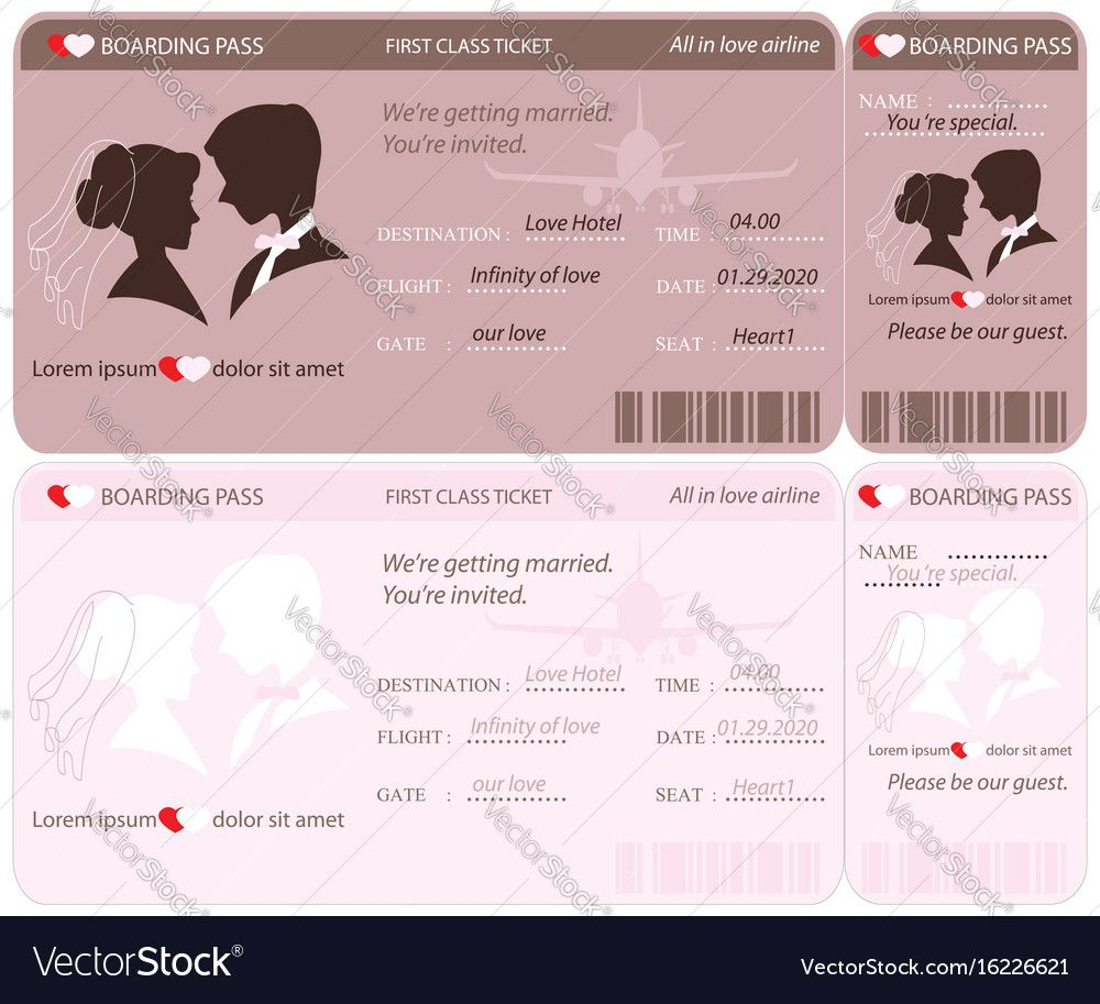 Boarding Pass Ticket Conceptual Wedding Invitation Template Vector - Wedding invitation templates: boarding pass wedding invitation template