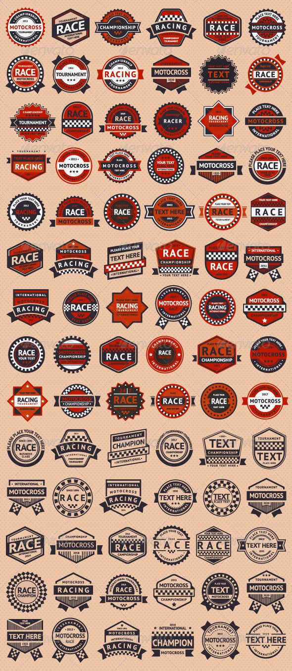 Set of 84 Race Insignia Stamps