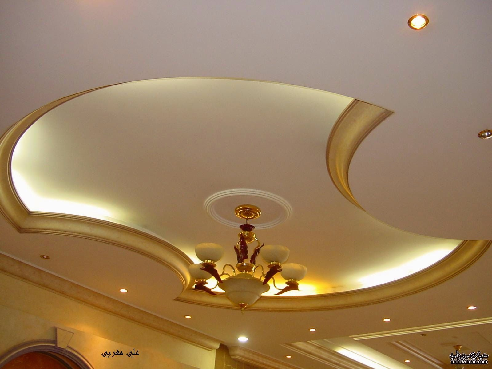 Interesting pop ceiling designs aida homes - 4 Curved Gypsum Ceiling Designs For Living Room 2015