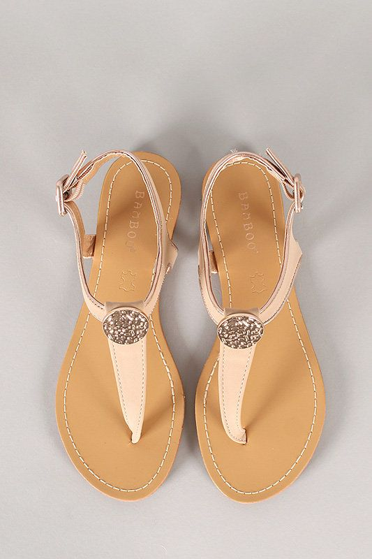 b6195849c0cad Bamboo Coin Ornament T-Strap Slingback Flat Sandal