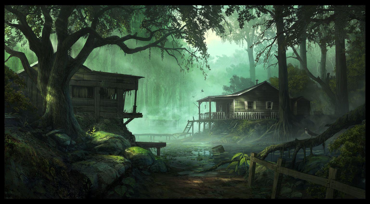 The Ruins In The Forest森の中の廃墟の壁紙 Digitale Malerei