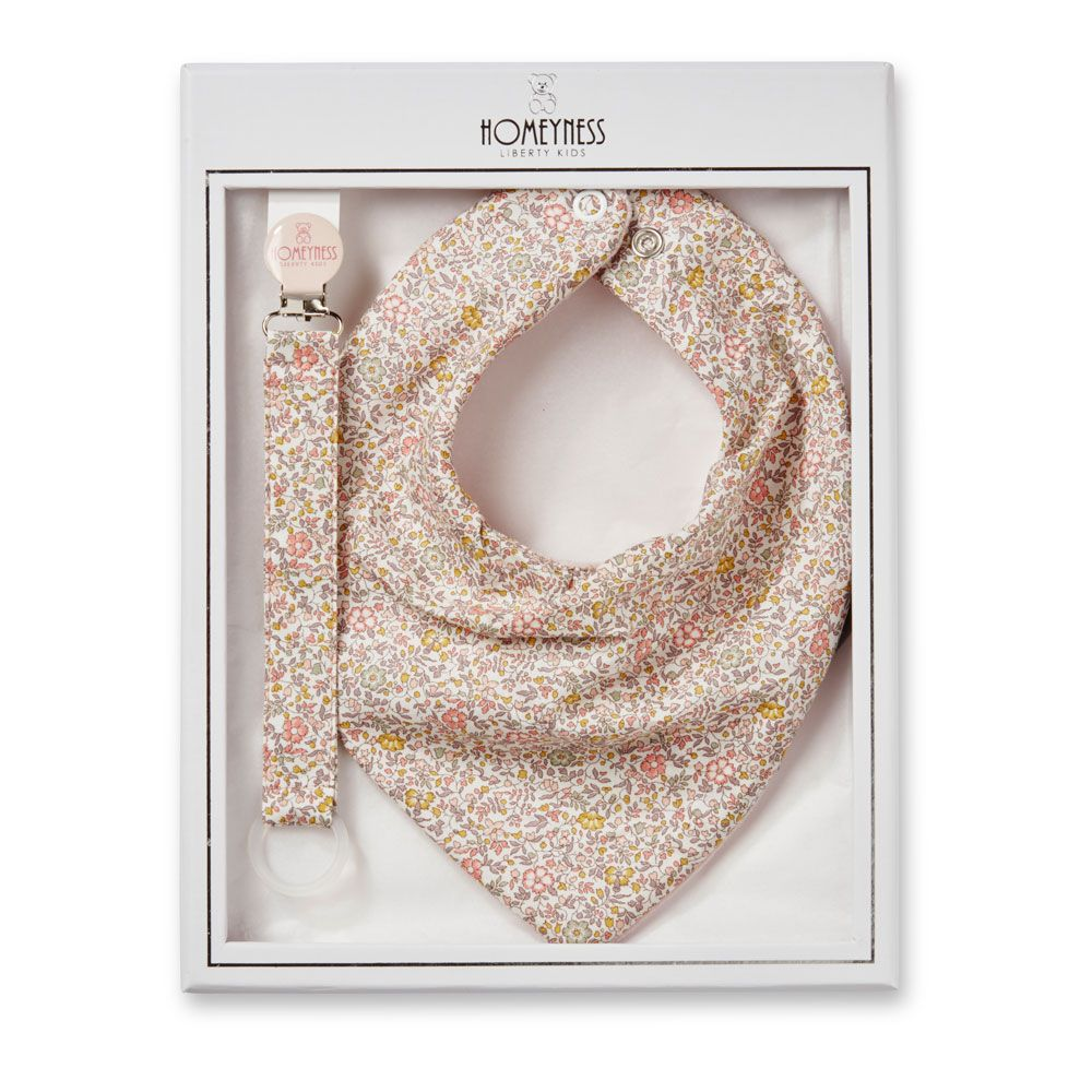 Liberty London and lace dribble bib and teether