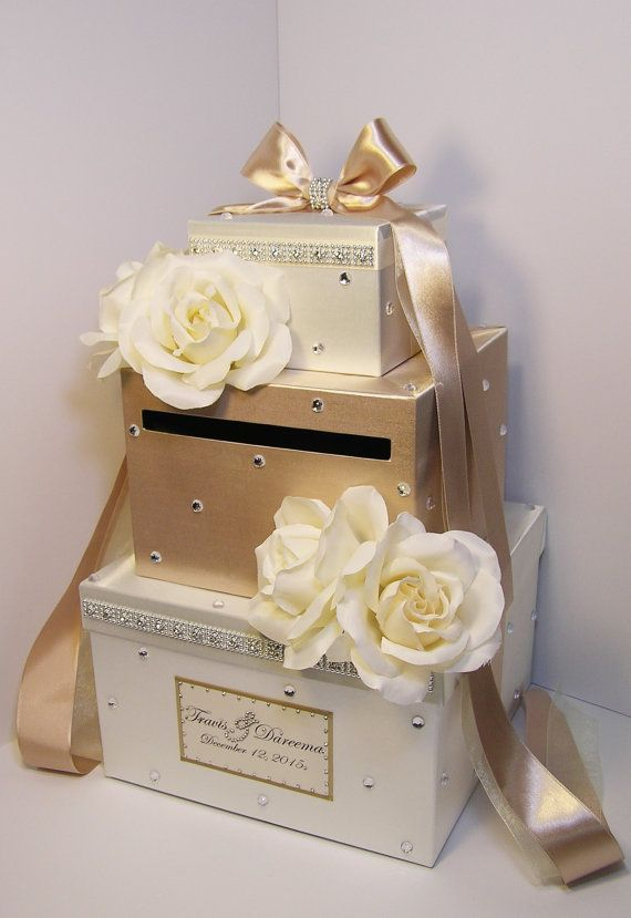 Wedding Card Box champagne and Ivory Gift Card Box Money Box Holder ...