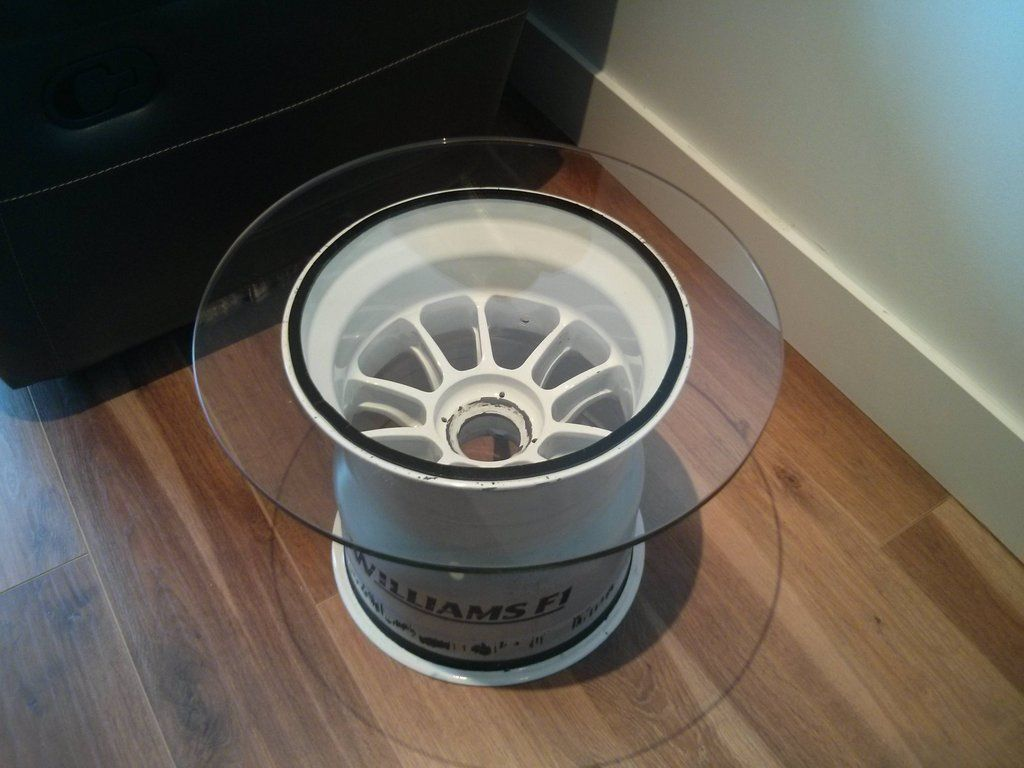 Williams F1 Wheel Turned Into Coffee Table.