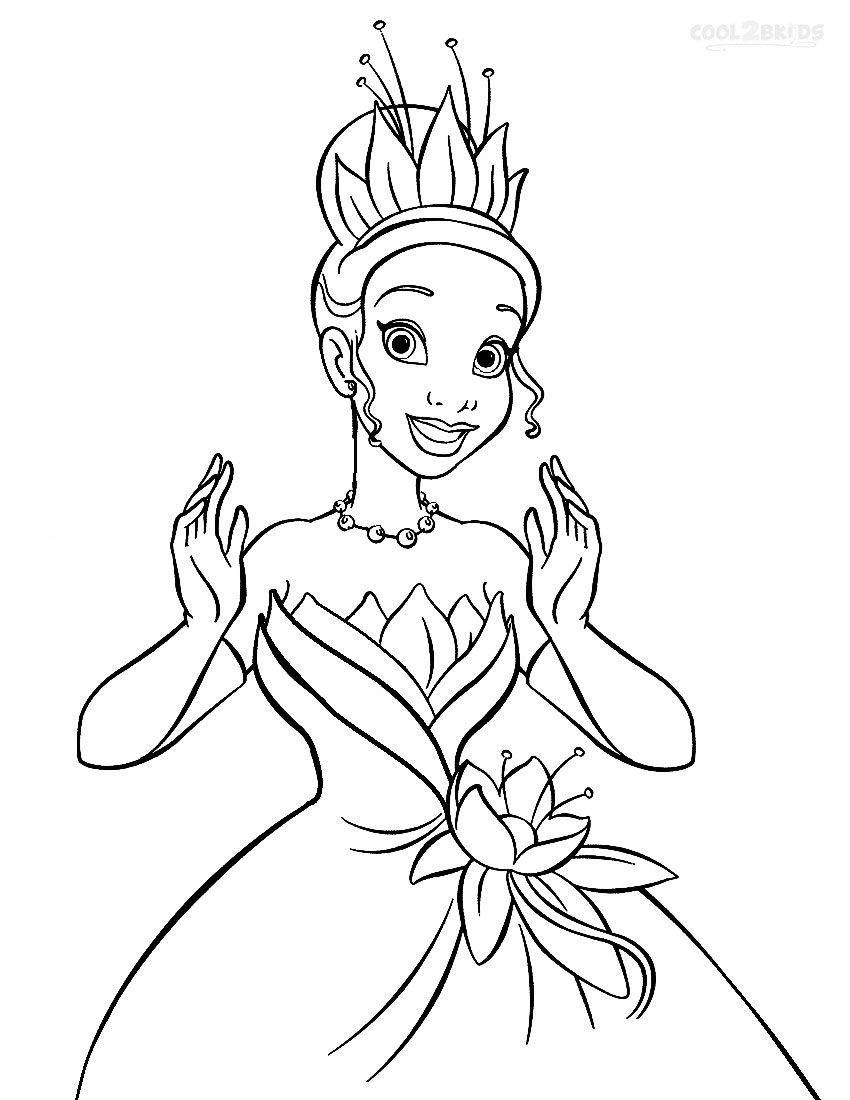 Printable Princess Tiana Coloring Pages For Kids Cool2bkids Disney Princess Coloring Pages Frog Coloring Pages Barbie Coloring Pages