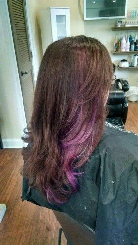 Took 3 Hours But I Got Some Rose Gold Ish And Purple In My Dark Brown Hair Purple Highlights Brown Hair Hair Highlights Hair Streaks