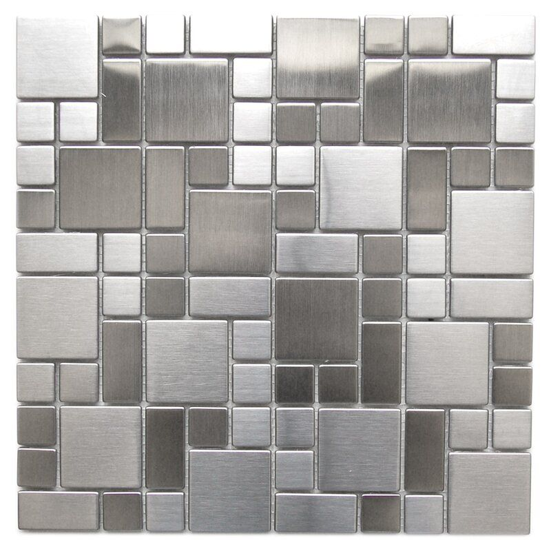 Modern Cobble Metal Mosaic Tile In 2020 Metal Mosaic Tiles Stainless Steel Tile Stainless Steel Backsplash