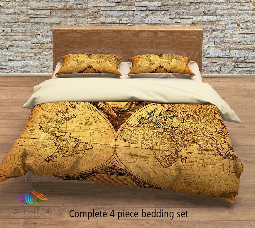 Vintage World Map Bedding Antique Map Of The World 1752 Duvet Cover Set Steampunk Old Map Comforter Set Full Bedding Sets Duvet Cover Sets Vintage Bedding Set