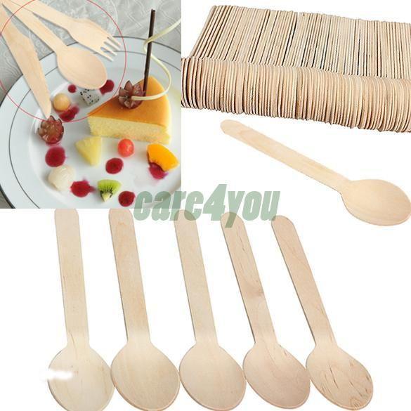 100 stuks economische wegwerp houten lepels westers eten lepels ijs lepel servies bestek bhu2(China (Mainland))
