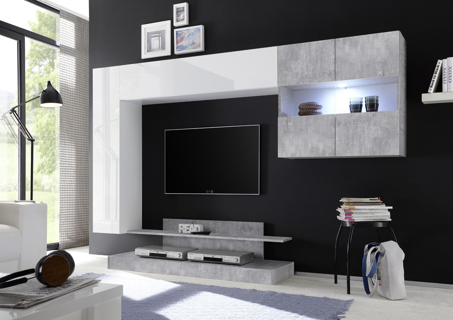 Ensemble Tv Mural Design Blanc Laque Beton Camargue Murale Design Parement Mural Et Tv Murale