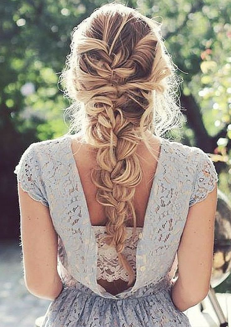 Simple Braided Hairstyles For Prom : Thick voluminous messy blonde french braid created by