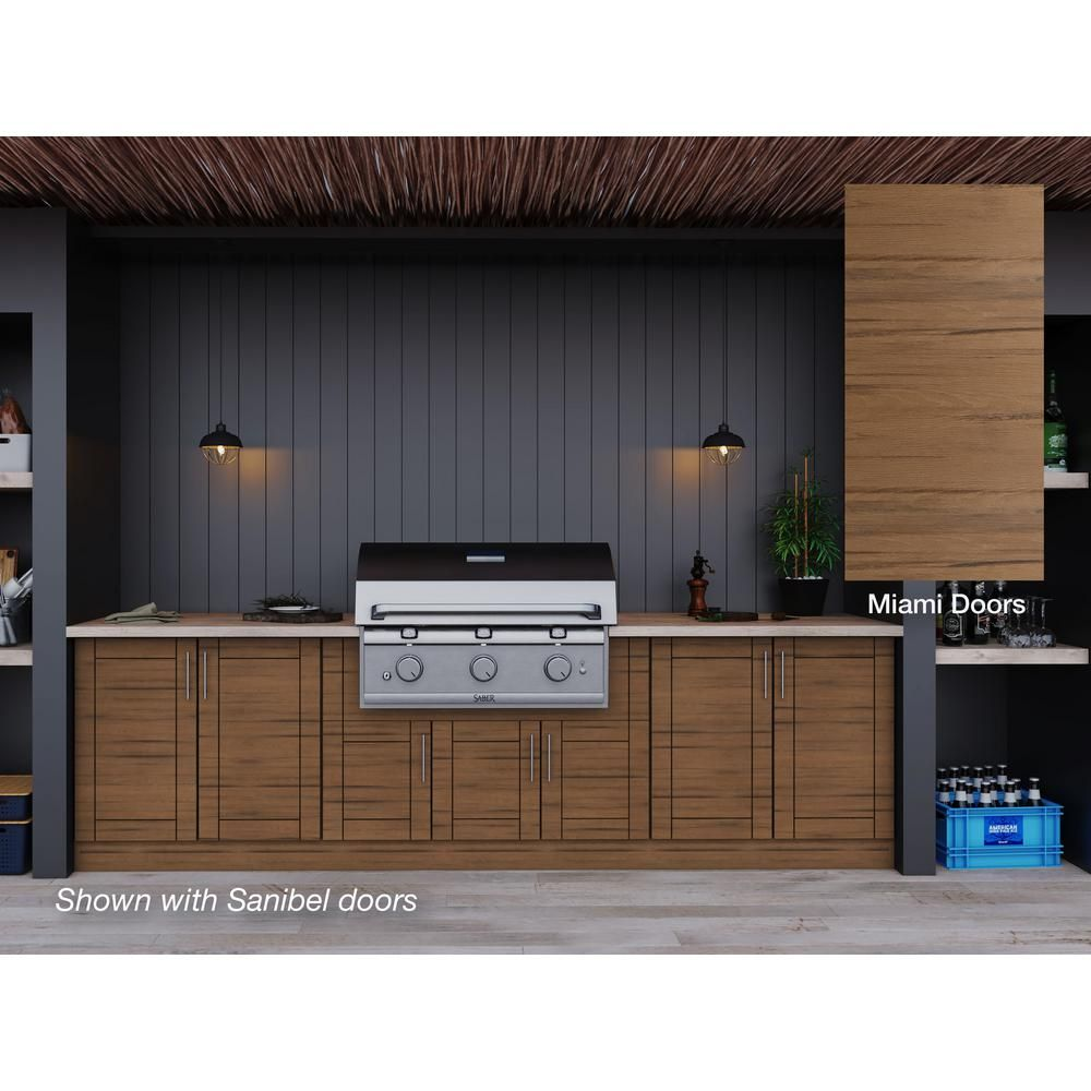 Weatherstrong Miami Teak 17 Piece 121 25 In X 34 5 In X 28 In Outdoor Kitchen Cabinet Set Wse120wm Mtk The Home Depot Outdoor Kitchen Cabinets Kitchen Set Cabinet Modular Outdoor Kitchens