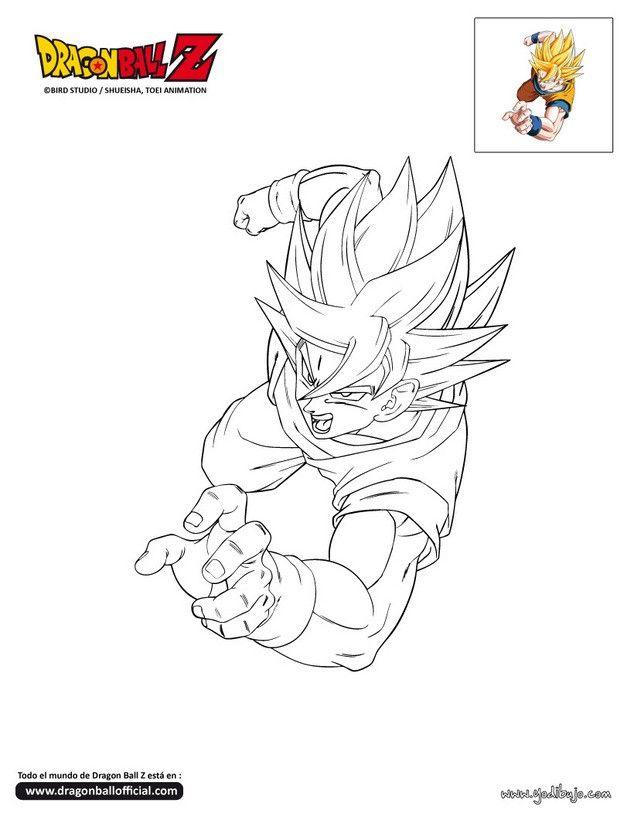 Dibujo para colorear SON GOKU  COLOREAR DE TODO  Pinterest
