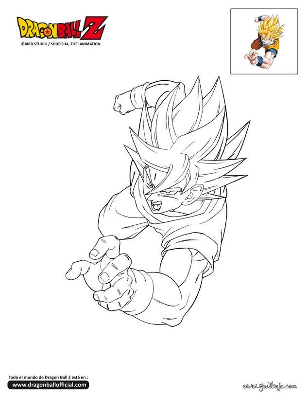 Dibujo para colorear SON GOKU | drawings | Pinterest | Desenhos ...