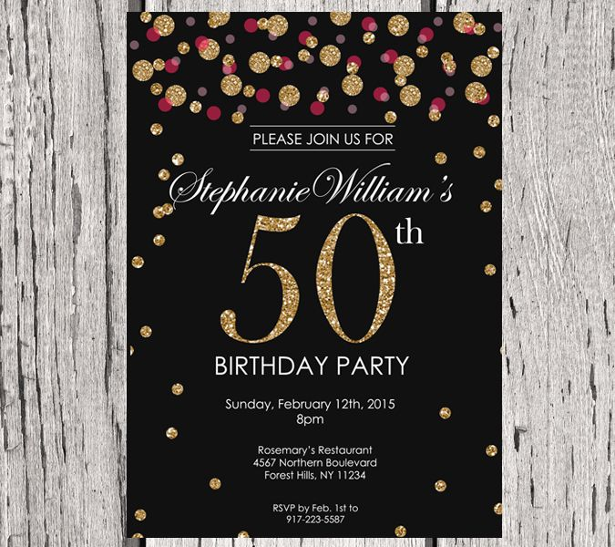 Birthday Invitation. Gold Glitter Birthday Party Invite