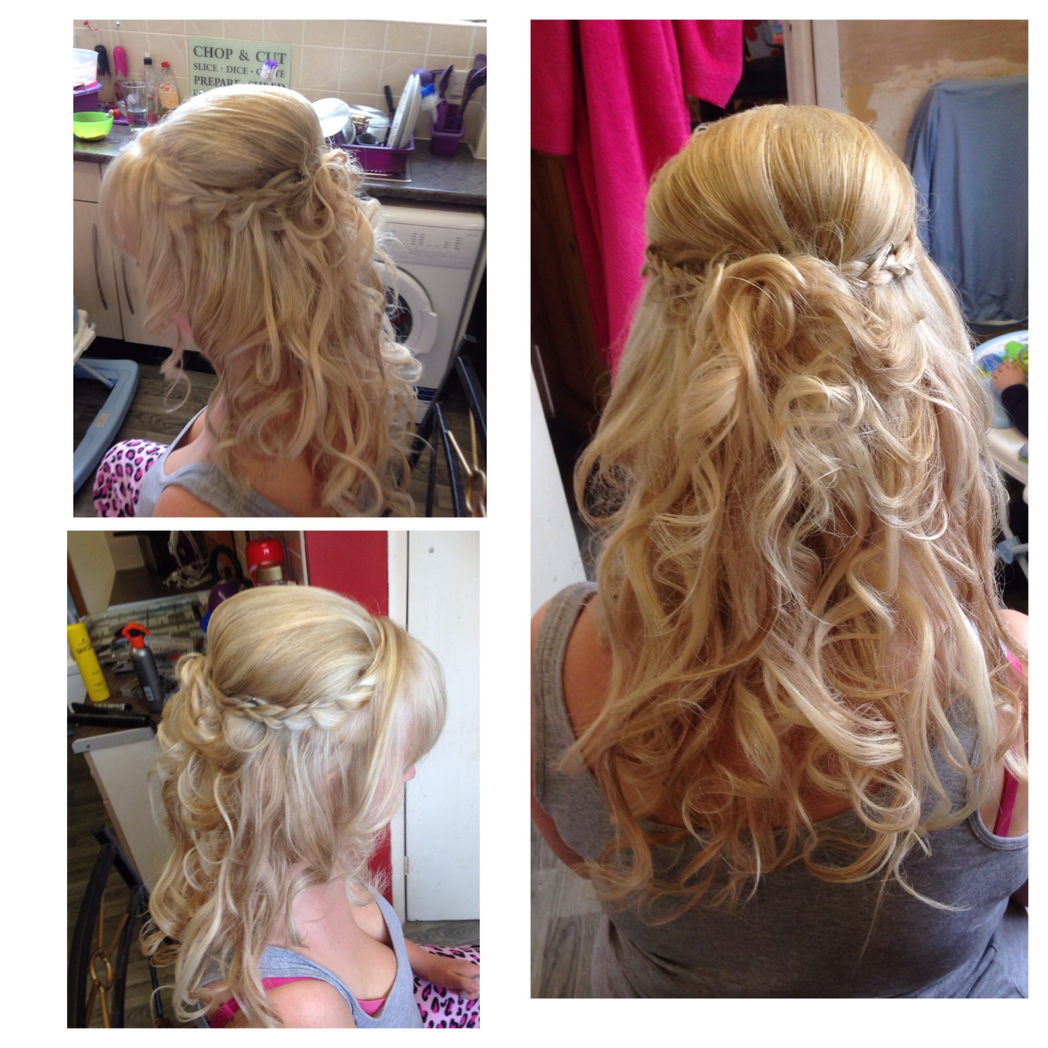 Hair Up Half Up Half Down With Plaits Coming From The Side
