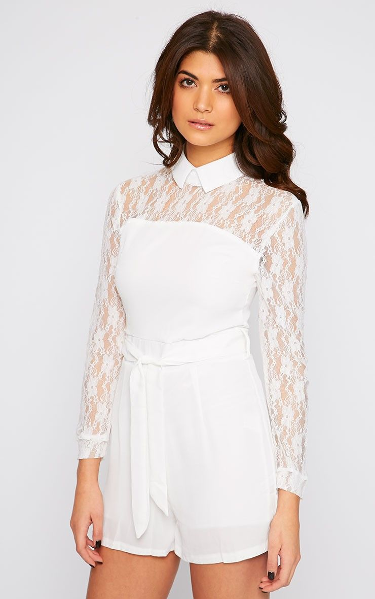 ddbbc0ff5b Nicky Cream Lace Long Sleeve Collar Playsuit - Playsuit - PrettyLittleThing