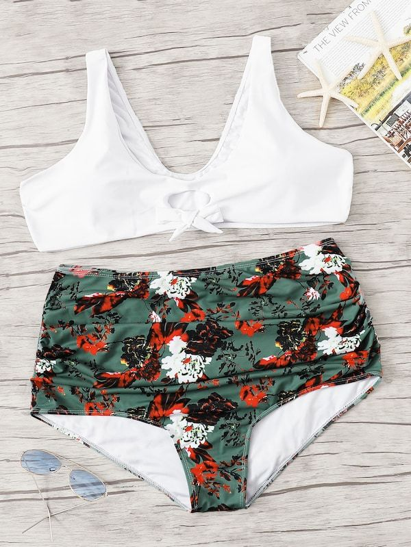 d5d0d33f9d Plus Floral Ruched Mix & Match Bikini | SHEIN | II TRENDY ON THE ...