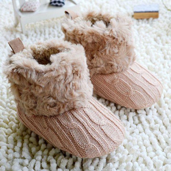 Infant Baby Kid Snow Boots Fleece Knit Booties Winter Warm Crib Shoes Sneaker
