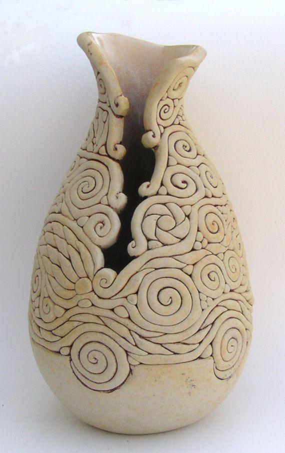Ivory colored Coil Vase, Exposed Coil Vessel, Decorative Ceramic ...