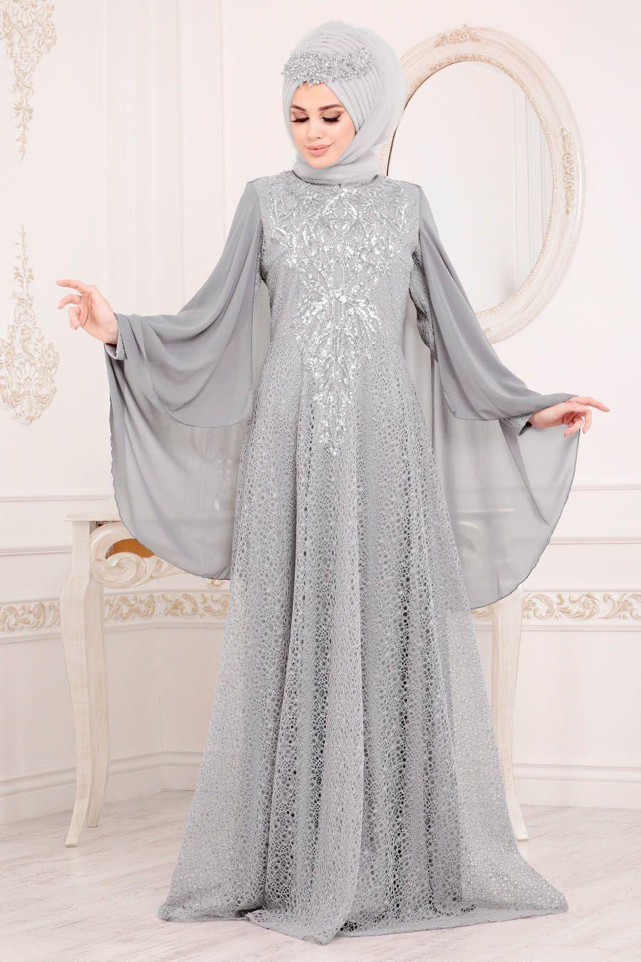 Tesetturlu Abiye Elbise Pelerinli Gri Tesettur Abiye Elbise 3287gr Tesetturisland Com Tesettur Abiye Modelleri 2020 Elbise Moda Stilleri Musluman Modasi