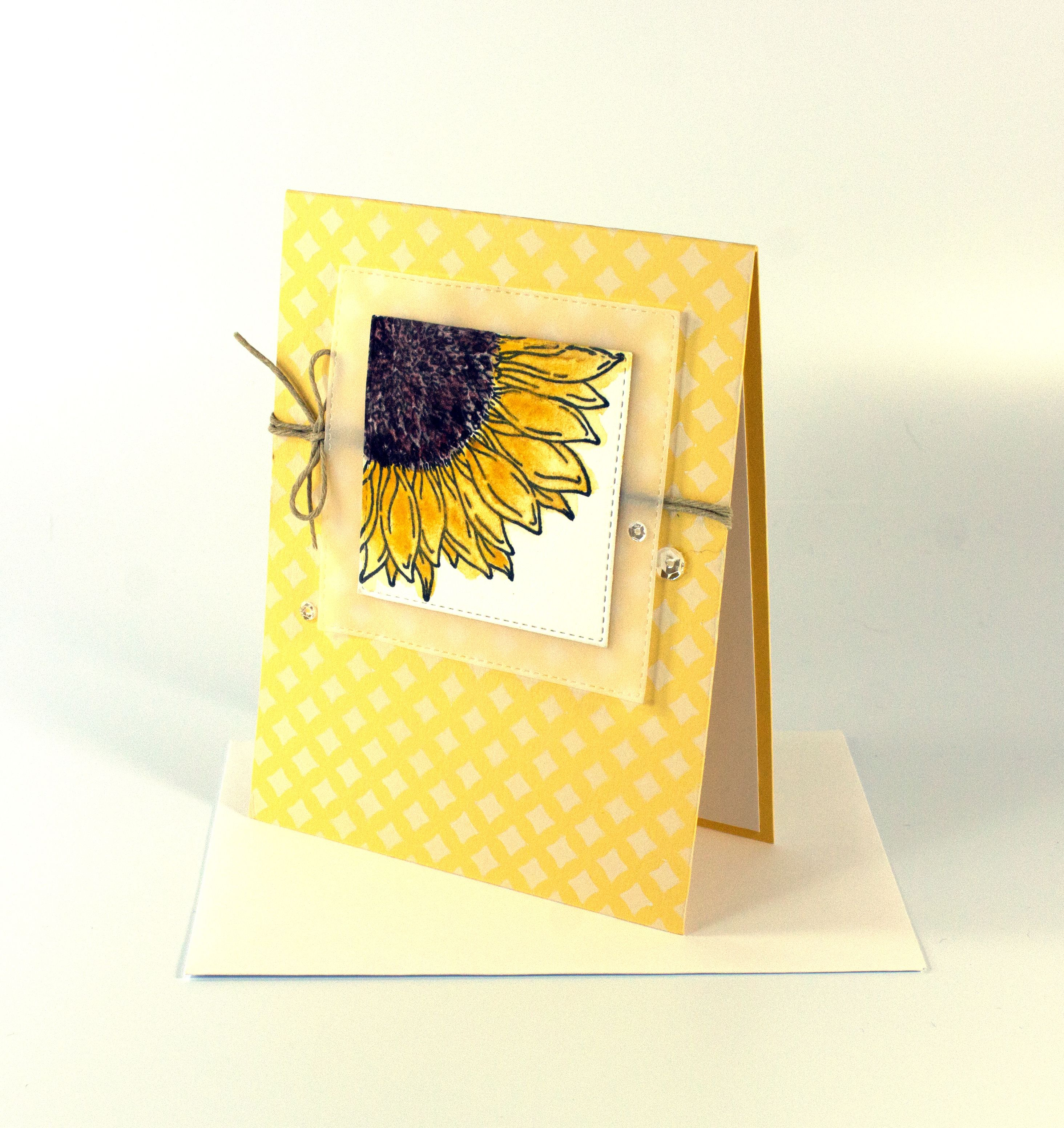 This Beautiful Handmade Watercolor Card Features My Cheerful Sunflower Art The Yellow And White Lattice D Wedding Cards Handmade Sunflower Cards Floral Cards