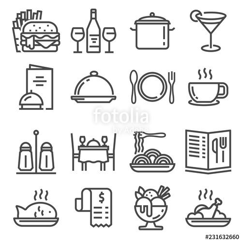 Vector Restaurant icons set on white background
