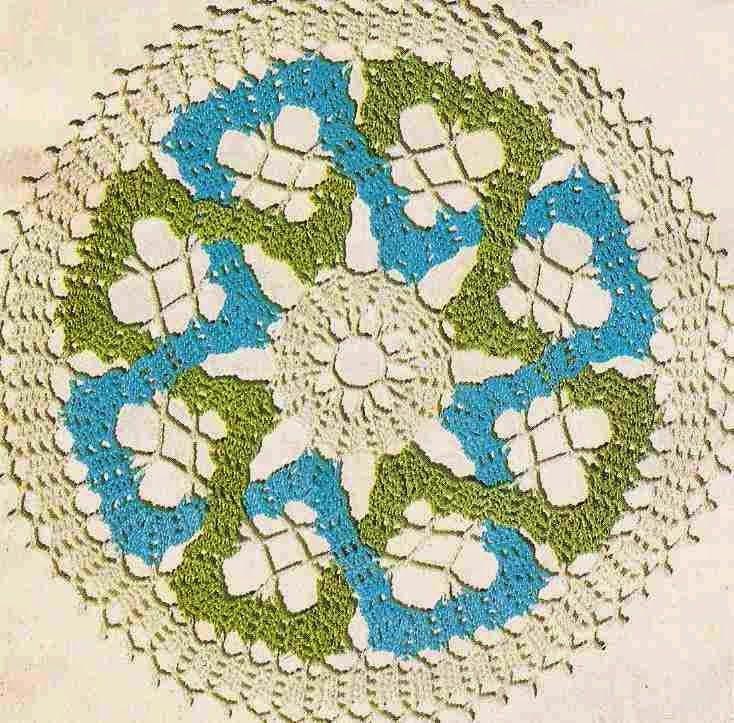 Patrón #167: Centro de Mesa Tricolor a Crochet #ctejidas http://blgs ...