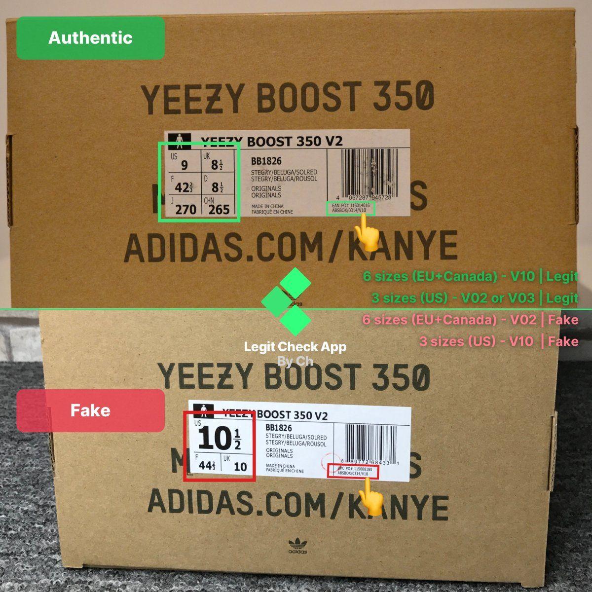 Real vs fake Yeezy Boost 350 V2 box