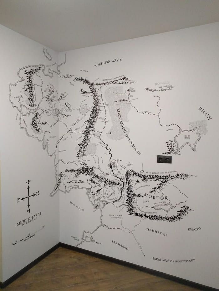 A huge middle earth map in the apartment   Dad Cave in 2019