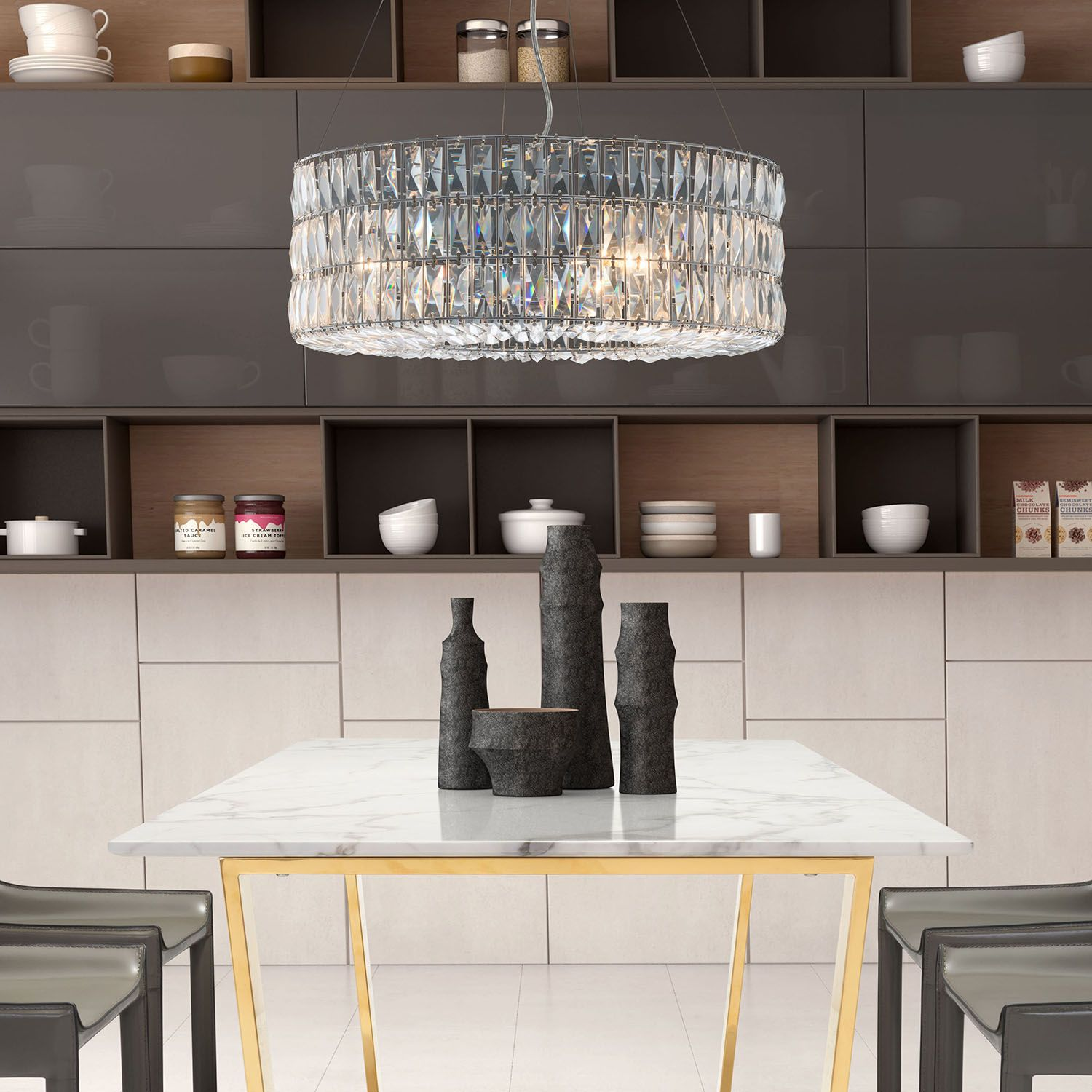 Featuring unique three-tier facet crystals shade Jena Ceiling L& will make your home & Featuring unique three-tier facet crystals shade Jena Ceiling Lamp ...