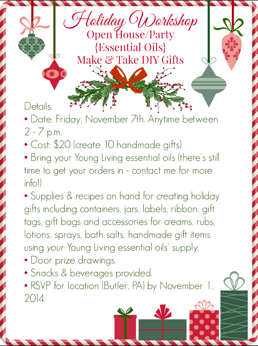 Ideas for Hosting an Essential Oils Holiday Open House | Open house ...