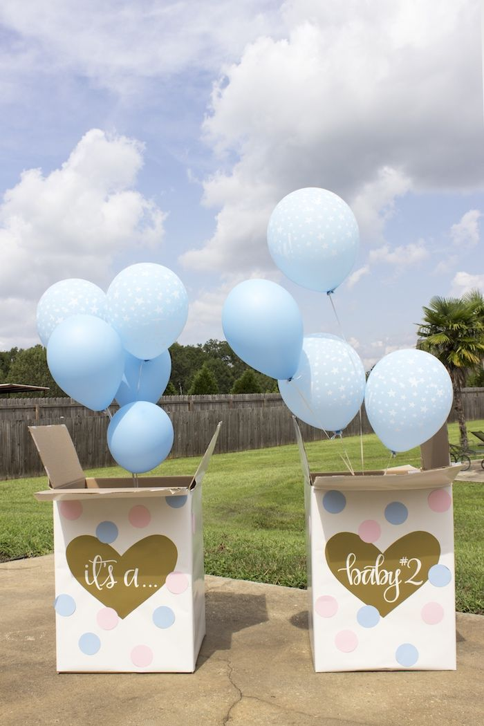 Gender reveal balloon boxes from an Ice Cream Social Gender Reveal Party on Kara's Party Ideas | KarasPartyIdeas.com (6)