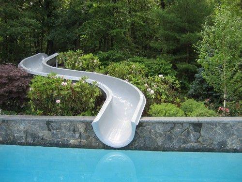 Pool slide on hillside contemporary pool boston for Pool design hillside