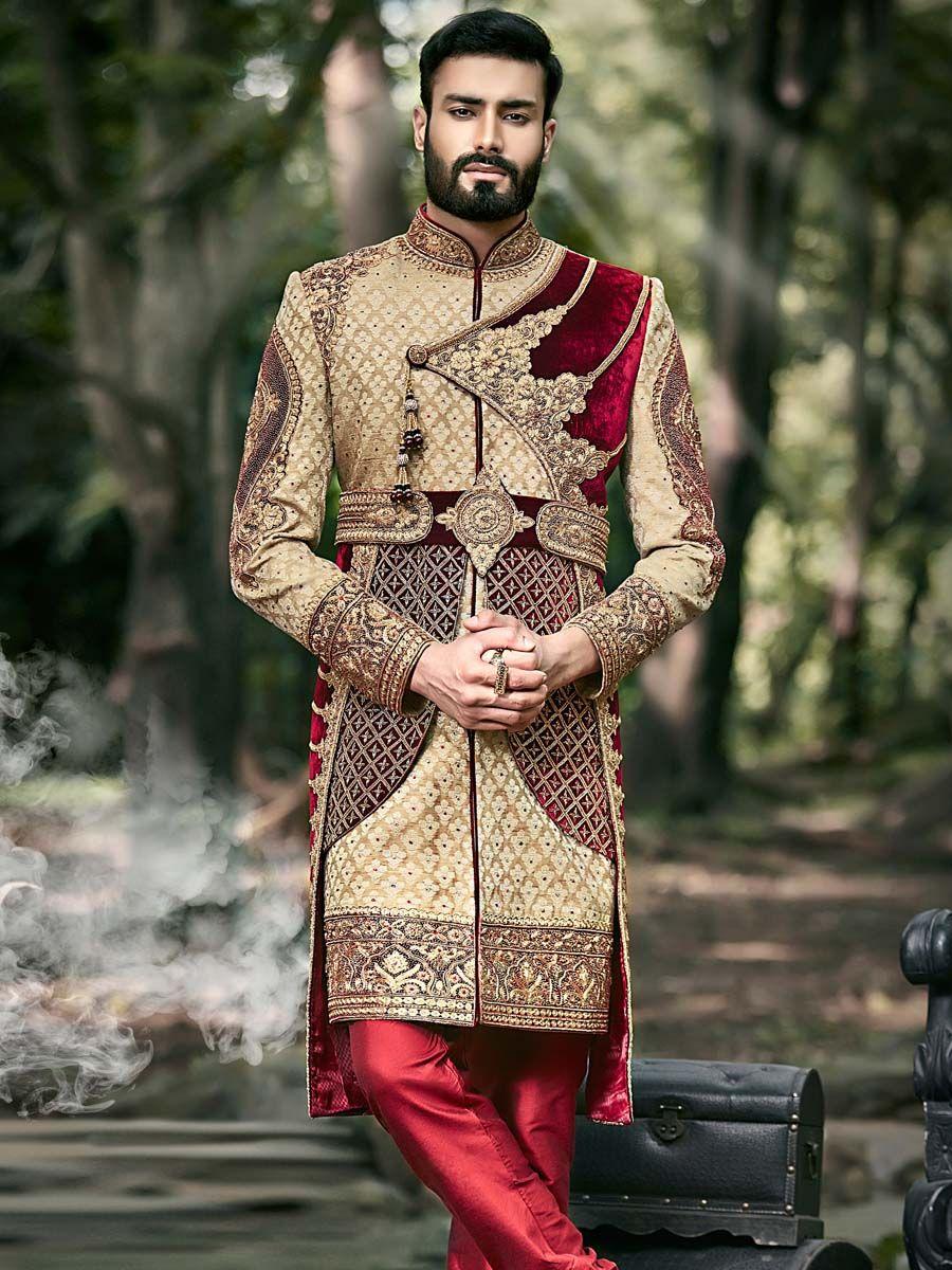 15edfa37c Emperor Look beige, maroon brocade and velvet sherwani is highlighted with  blooming beads, zari, zardosi, cutdana, kundan work will add a touch ...