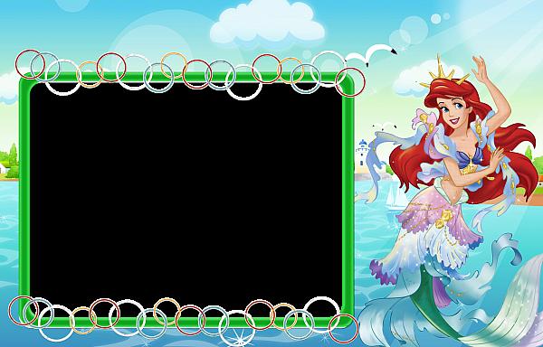 Kids Transparent Frame With Princess Ariel Disney