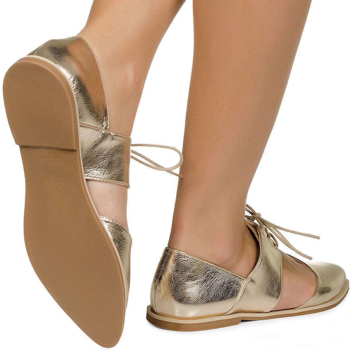 d87f18e06c Sapato Oxford Aberto Dourado Taquilla - Taquilla - Loja online de sapatos  femininos