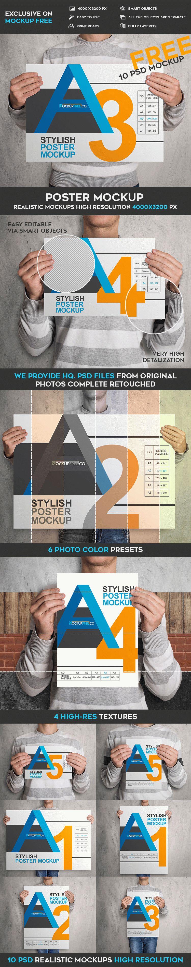 10 Free Poster PSD Mockups | Free PSD Templates | #free #photoshop ...