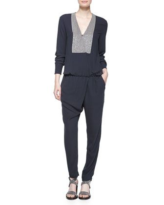 Long-Sleeve Jumpsuit W/Monili-Chain Bib, Volcano by Brunello Cucinelli at Neiman Marcus.