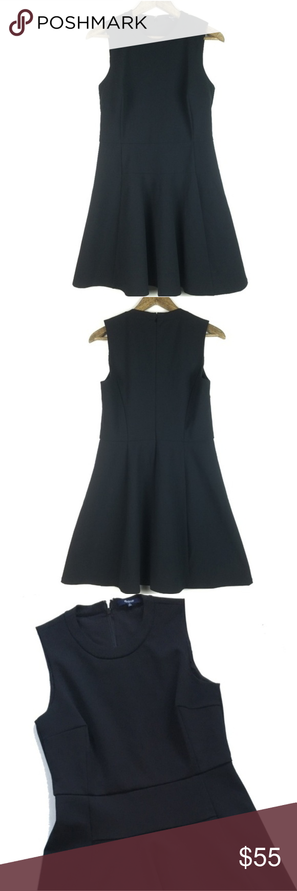 Madewell Black Classic Anywhere Sleeveless Dress Brand: Madewell Size: 4 Condition: EUC Color: Black Material: 88% Polyester, 12% Spandex; Lining 100% Polyester Style: B1090, The Anywhere Dress Measurements Lying Flat: Pit to Pit: 16 1/2