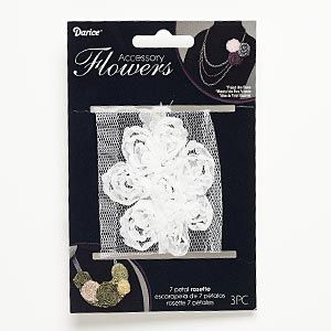 Sew-on component, fabric, white, 2-1/2 x 2-1/2 to 2-3/4 x 2-3/4 inch flower. Sold per pkg of 3. - Fire Mountain Gems and Beads