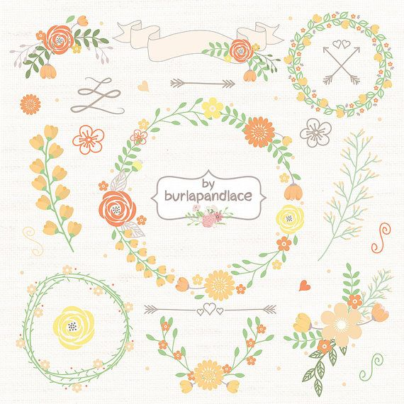 Wedding Floral Wreath Clip Art, Hand Illustrated Digital Flowers , Flower and Laurel Clip Art, PNG Flower Clip Art,  Wreath flower