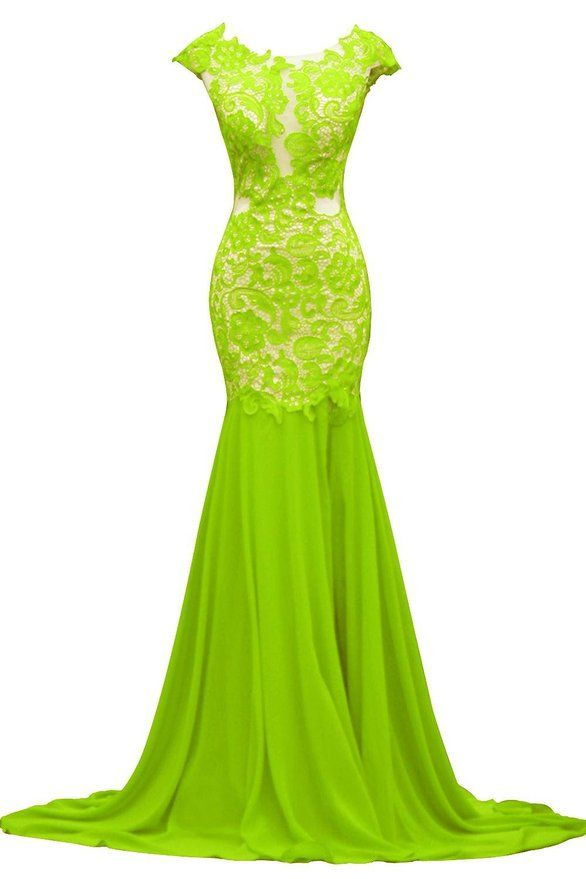 00bc3e1b66 ORIENT BRIDE Generous V-back Lace Floor-Length Mermaid Prom dresses Size 10  US Lime Green